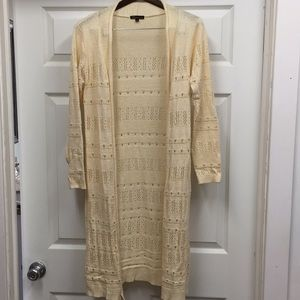 Crochet Long Cardigan - Ivory Color sz Small